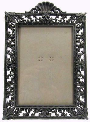 """Photo Picture Freestanding Frame Pierced Pewter Style  6½"""" x 4½"""""""