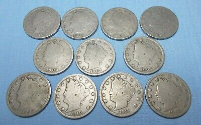 Liberty Head Nickel 11 Coin Lot 1902 to 1912 Composition Copper/Nickel (Lot C)