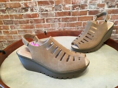 c942021a463 Skechers Parallel Trapezoid Dark Natural Peep-tow Slingback Wedge Sandal 7  NEW