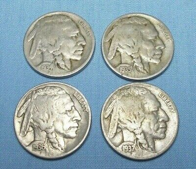1934,1935,1936, 1937 Indian Head/Buffalo Nickels United States Copper/Nickel