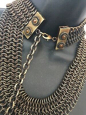 "Vtg Metal Mesh Bronzed ChainMail Link Collar Necklace 46"" Hip Waist Retro Belt"