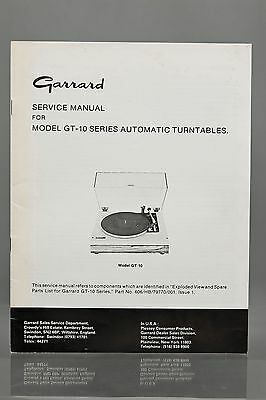 Garrard Service Manual for Model GT-10 Series Automatic Turntables