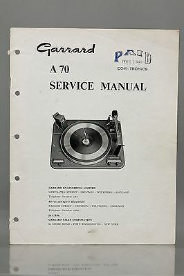 Garrard A70 Automatic Record Changer Service Manual