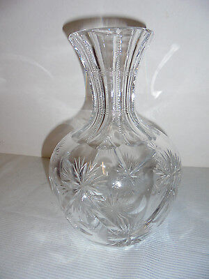 """Cut Glass Water Jug, Carafe, Decanter, Heavy, 8.25"""" Tall 5.5"""" Across Vintage"""