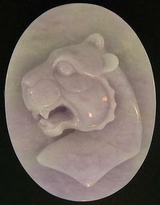 Natural Carved Green & Lavender Jadeite Jade Oval Paperweight w/ Tiger Face