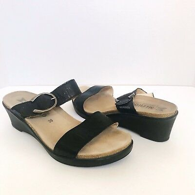 80c9388409aa Mephisto Air Relax Black Leather Wedge Slide Sandals Size - US 9 / Euro 39
