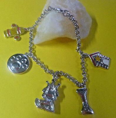 3454f5ac0 .925 STERLING SILVER CHARM BRACELET Italy ENAMEL DOG THEME CHARMS Lobster  Clasp .