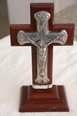 Estate item  Large Vintage Jesus on Cross Crucifix in Stand Religious Christian