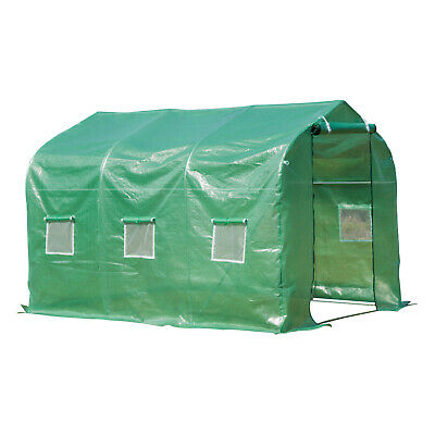 Walk-in Polytunnel Round / Gable Top Garden Greenhouse Window Door Heat Shed