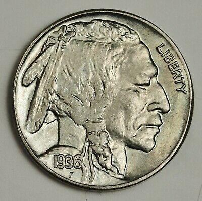 1936-s Buffalo Nickel.  Original Choice B.U.  134698