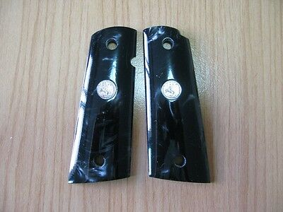 Gorgeous Smooth Black Pearl Resin Grip For Colt 1911 Full Size Kimber Clones New
