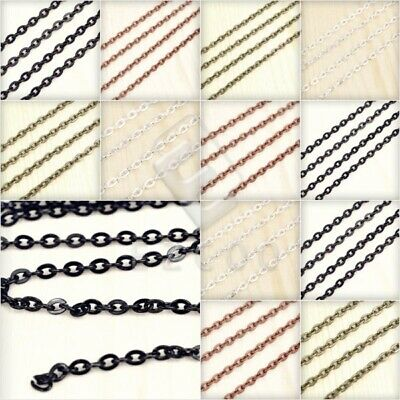 4m Open Link Unfinished Flat Cable Chain Bulk Necklace Jewellery Makings Lots EB