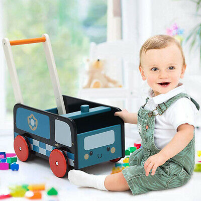 Blue Wooden Push Along Walker Kids Toy Baby First Step Mobility Learn Stand Toys