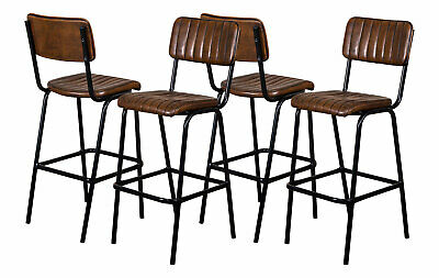 Set Of 4 Brown Upholstered Bar Stool In Vintage Style Faux Leather 76Cm Leather