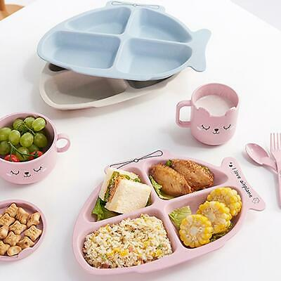 Baby Toddler Divided Bowl Plate Kids Dinner Placemat Food Tray + Scoop + Fork