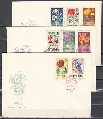 Romania, Scott cat. 1623-1630. Garden Flowers issue. 3 First day Covers