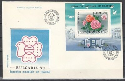 Romania, Scott cat. 3571. Bulgaria Srtamp Expo. Roses on a First day cover