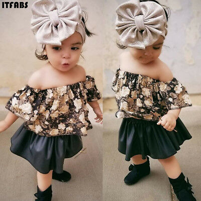 2019 Infant child girl baby clothes strapless T-shirt top Skirt dress 2PCS suit