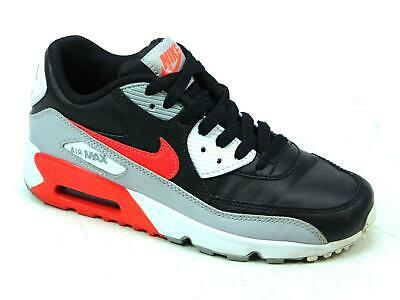 2aa8167a25b Kids Youth Nike Air Max 90 Black Grey Leather Sports Active Trainers Size  Uk 3