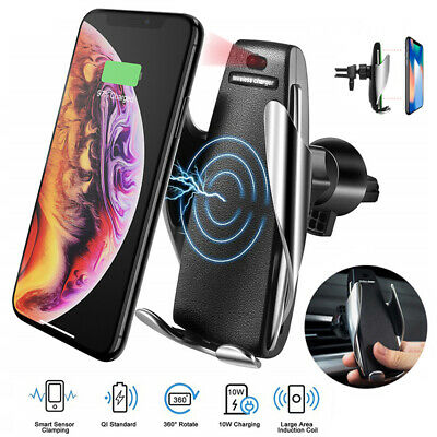 Automatic Clamping Wireless Car Charger Mount Air Vent Holder For iPhone Samsung