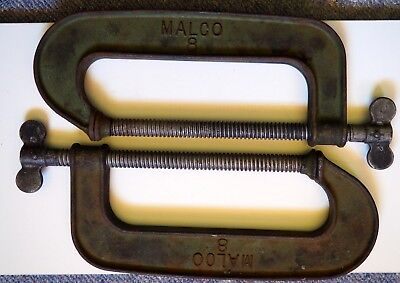 "2 x 8"" MALCO G CLAMPS MADE IN USA - GOOD CONDITION"