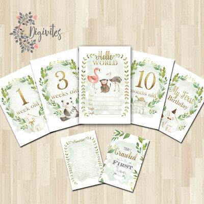 UNISEX Animal themed Baby Milestone cards, Baby Photo props, Baby Keepsakes gold