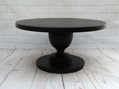 VERY STRONG 14 inch BLACK PAINTED HAND MADE WOODEN PEDESTAL WEDDING CAKE STAND