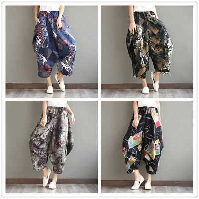 Women Chinese Cotton Linen Harem Trousers Pants Loose Baggy Bloomers Floral New