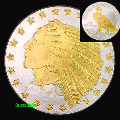 Indian Head Incuse 1 Troy Oz .999 Fine Silver Highland Mint 24K Gold Gilded Star