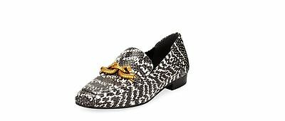 56dfacc94cd Tory Burch Women s Black White Leather Jessa Loafer Gold Buckle Land Smoke