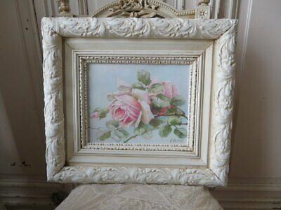 OMG Christie REPASY Canvas Print PINK BLUSH ROSES CREAMY WHITE Old Gesso FRAME