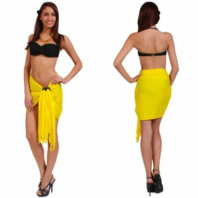 7d5f4c245c 1 World Sarongs Womens Sarong Beach Cover-up Solid Color Half Sarong in  Yellow