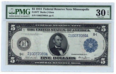 1914 $5 Minneapolis Federal Reserve Bank Note Fr. 877, PMG Very Fine 30EPQ Y5215