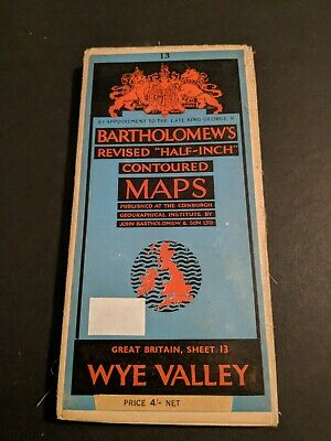 vintage BARTHOLOMEWS MAP CLOTH SHEET 13 WYE VALLEY