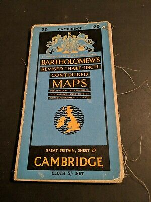 vintage BARTHOLOMEWS MAP CLOTH SHEET 20 CAMBRIDGE .