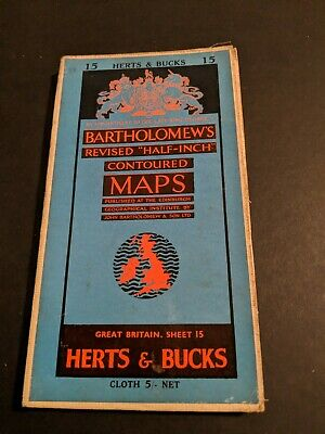 vintage BARTHOLOMEWS MAP CLOTH SHEET 15 HERTS & BUCKS