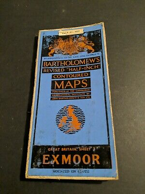 vintage BARTHOLOMEWS MAP CLOTH SHEET 3 EXMOOR