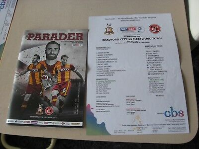 2017-18 Bradford City v Fleetwood Town League One 26.9.2017 + Teamsheet