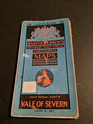 vintage BARTHOLOMEWS MAP CLOTH SHEET 18 VALE OF SEVERN ...