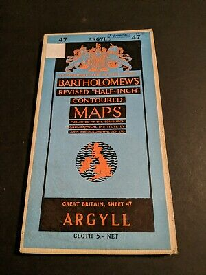 vintage BARTHOLOMEWS MAP CLOTH SHEET 47 ARGYLL  ...