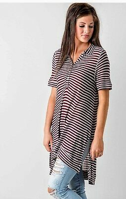 39a4c5e8 Free People Tunic Ryan Striped Shirt XS Oversized Button Top Burgundy