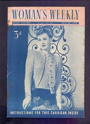 Post War Woman's Weekly Instructions for Cardigan inside July 20th 1946  (MD1)
