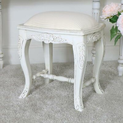 Antique cream dressing table stool cushioned vintage French bedroom furniture