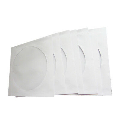 100 x CD/DVD Paper Envelope Sleeves Wallet Cover Case with Plastic Clear Window
