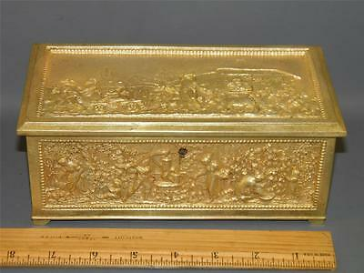 Antique Ornate Figural Gilded Bronze Trinket Jewelry Box European Scene With Key