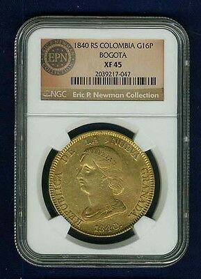 COLOMBIA NUEVA GRANADA 1840-Bogota-RS 16 PESOS GOLD COIN, CERTIFIED BY NGC XF-45