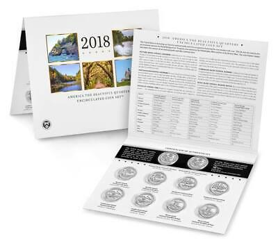 2018 P & D US Mint America the Beautiful Uncirculated 10 Coin Quarter Set
