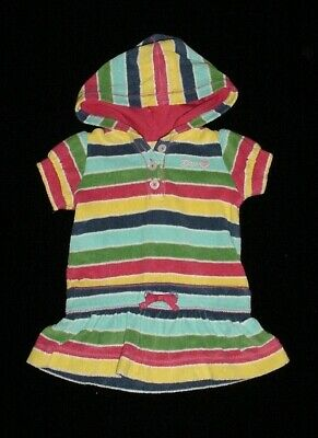 EUC Baby GAP Girls SPRING BLOOM Striped Terry Swim Cover Up Dress 3-6 M