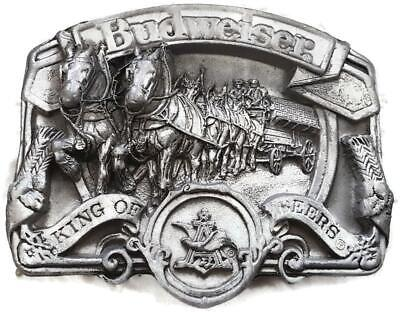 Vtg Budweiser King of Beers Clydesdale Wagon BELT BUCKLE W-42 BERGAMOT BRASS