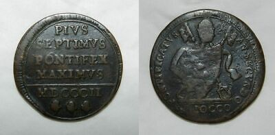 VATICAN : POPE PIUS VII 1800-1823  BAIOCCO 1802 - Large Coin 35mm